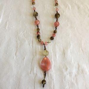 Handmade Pink love Stone Necklace